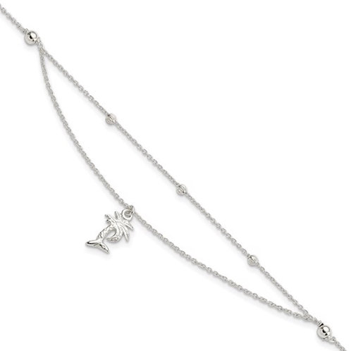 Sterling Silver Polished 2-Strand Palm Tree 9in Plus 1in Ext Anklet