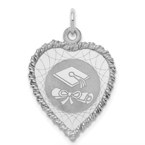 Sterling Silver Rhodium-Plated Graduation Cap And Diploma Disc Charm