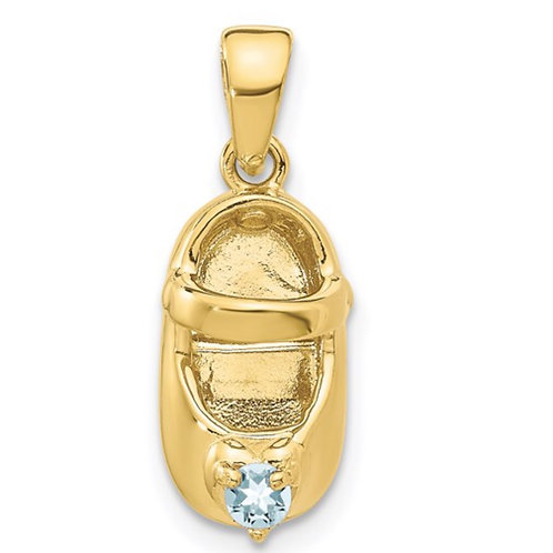 10K 3-D March/Synthetic Stone Engraveable Baby Shoe Charm