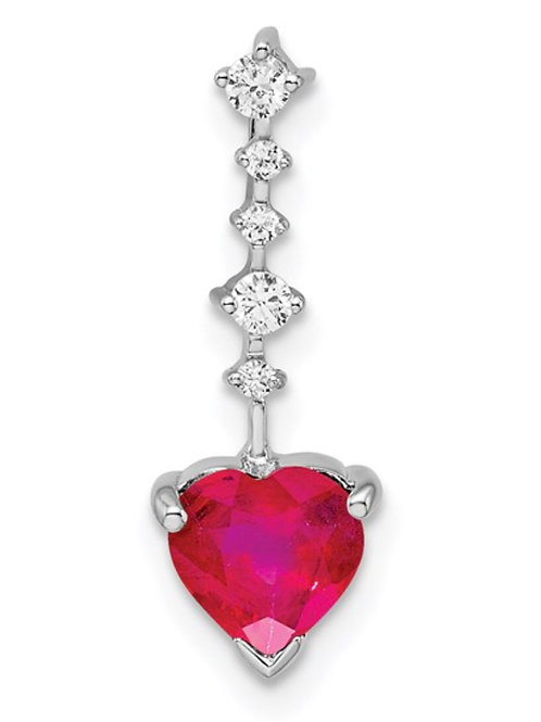 14k White Gold Ruby and Diamond Heart Chain Slide