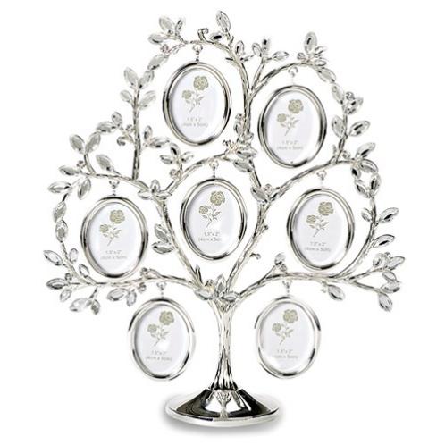 Silver-Tone Seven 1.5x2 Photos Family Tree
