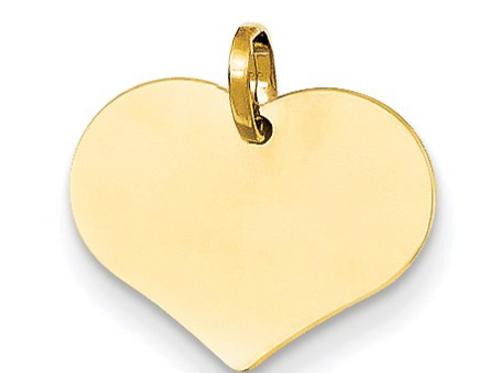 14K Polished Heart Shaped Disc Pendant