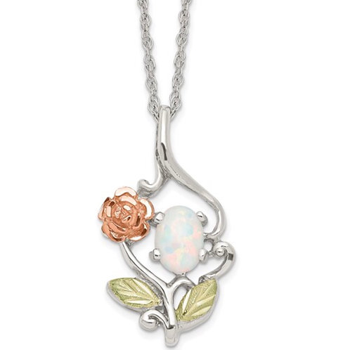 Sterling Silver Black Hills 12K Gold Accents Rose and Lab Created White Opal 18