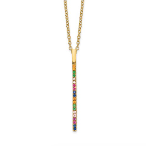 SS 14k Flash-Plated Colorful CZ Vertical Bar With 2in Ext Necklace