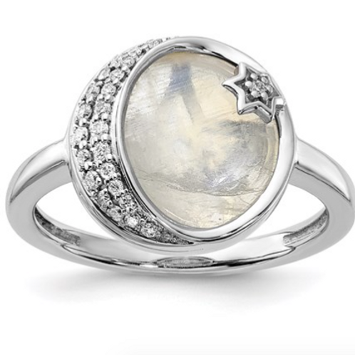 14k White Gold Dia. And Moonstone Moon And Star Ring