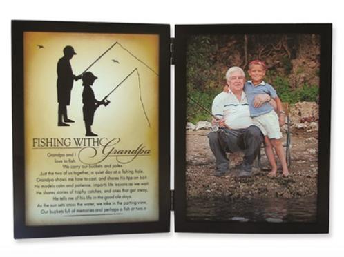 Fishing With Grandpa Sentiment 5x7 Black Photo Frame