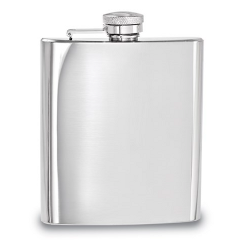 Polished Stainless Steel 8oz Square Flask