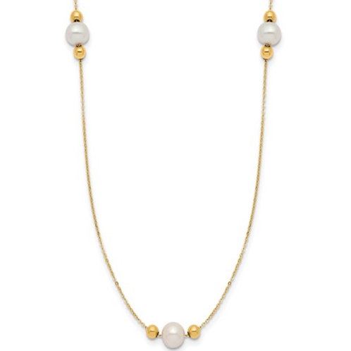 14K Polished FWC Pearl and Bead 3 Station 16in with 2 in ext. Necklace