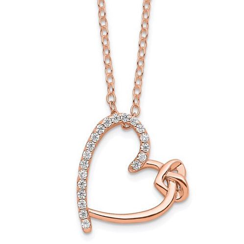 Sterling Silver Polished Rose-tone CZ Heart 18in Necklace
