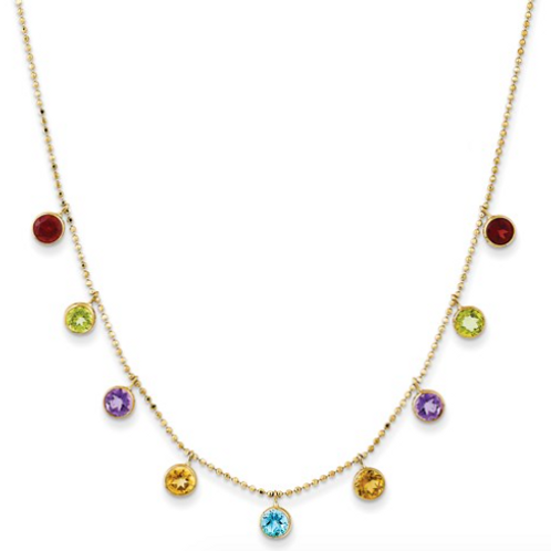 14K Multi-Color Gemstone Necklace With 2in Ext.