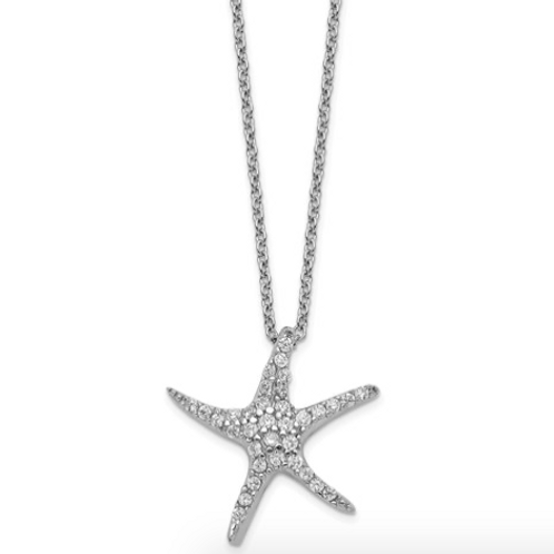Cheryl M Sterling Silver Rhodium Plated CZ Starfish 18in Necklace