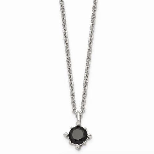 Stainless Steel Black CZ Pendant Necklace