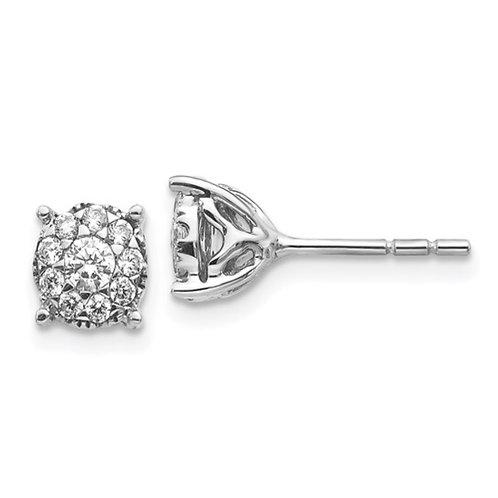 14k White Gold Diamond Cluster Post Earrings
