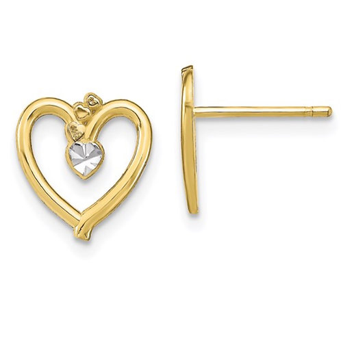 10k with Rhodium D/C Heart Post Earrings