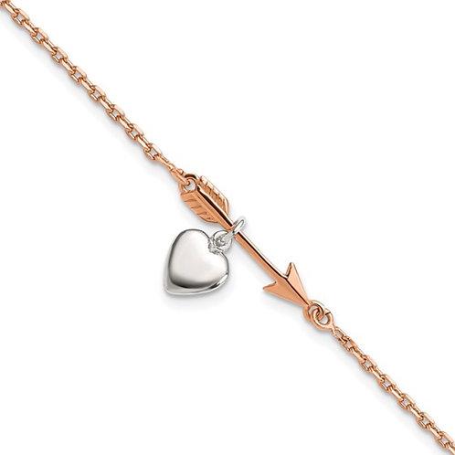 Sterling Silver Rose-tone Arrow with Heart 7.5in Bracelet