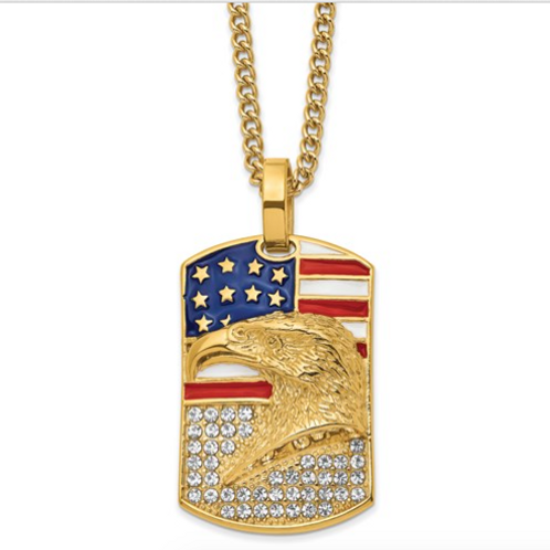 Stainless Steel Polished Yellow IP Enamel And Crystal Eagle On Flag Necklace