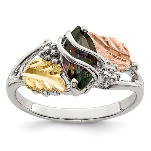 Sterling Silver Black Hills 12K Gold Accents Mystic Fire Topaz Ring