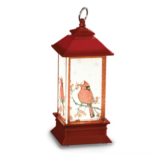 Plastic LED Lantern With Cardinals Ornament
