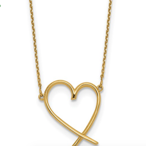 14K Polished Open Heart with 2 in ext. Necklace