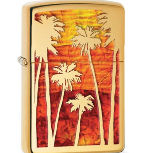 Zippo Brass Polished Fusion Palm Trees Lighter
