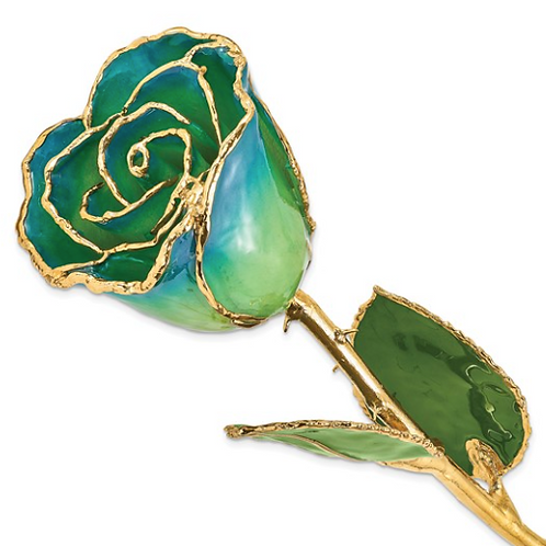 Lacquer Dipped Gold Trim Peridot and Navy Pearl Rose