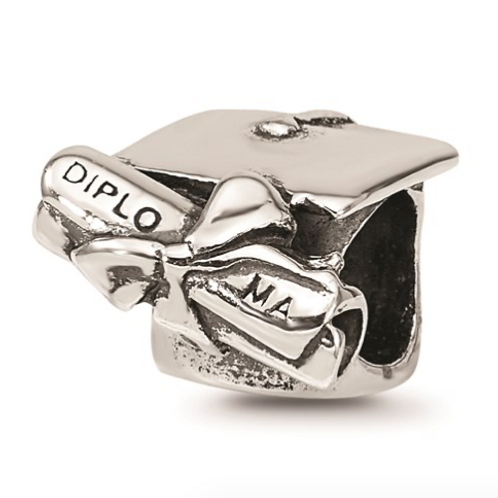 Sterling Silver Reflections Graduation Cap And Diploma Bead