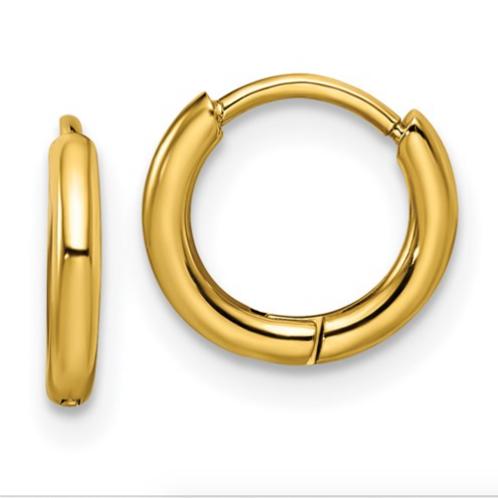 Stainless Steel Polished Yellow IP-Plated 1.6mm Hinged Hoop Earrings