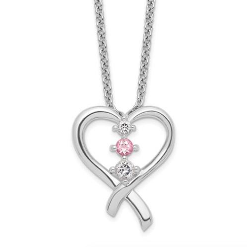Sterling Silver Survivor Clear/Pink Swarovski Topaz Heart Of Resilience Nec