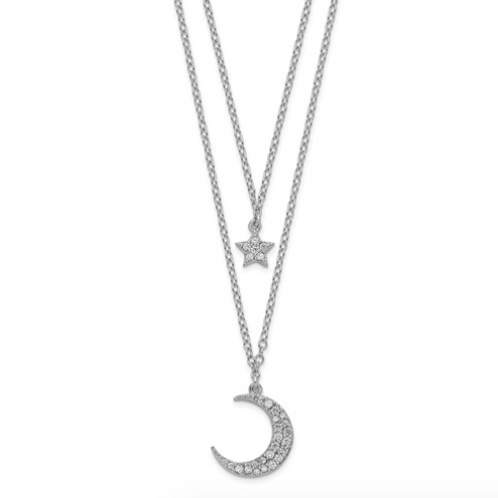 Sterling Silver Rhod-Pltd CZ Star And Moon 2in Ext 2-Strand Necklace