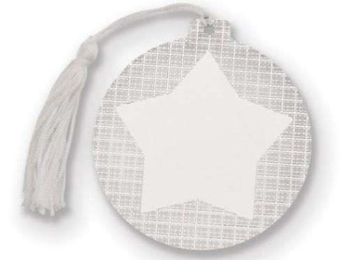 Nickel-Plated White Tassel Engraveable Star Ball Ornament