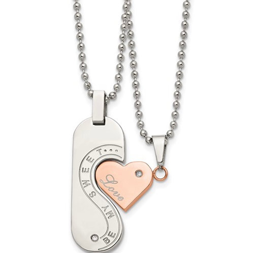 Stainless Steel Polished Rose IP-plated with CZ 22in Necklace Set
