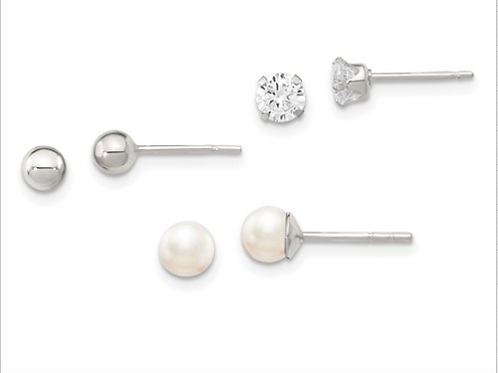 Sterling Silver Stellux Crystal And FWC Pearl Post Earring 3pc Set