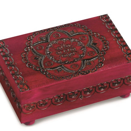 Wooden Floral Pattern Puzzle Box