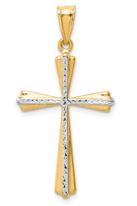 14k Two-Tone Diamond Cut Cross Pendant