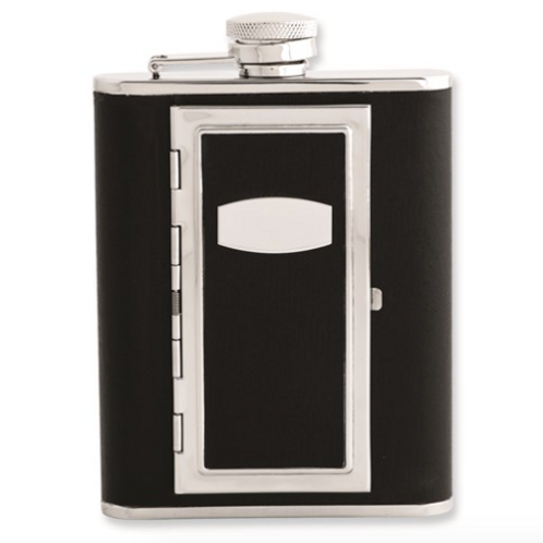 Black Faux Leather 6oz Flask Cigarette Holder With Funnel
