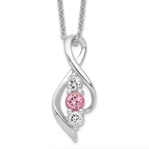 Sterling Silver Survivor Clear/Pink Swarovski Topaz Legacy Necklace