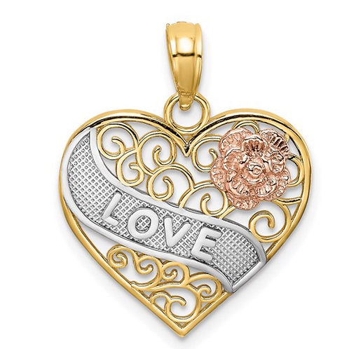 14k Two-tone with White Rhodium LOVE Banner on Filigree Heart Charm