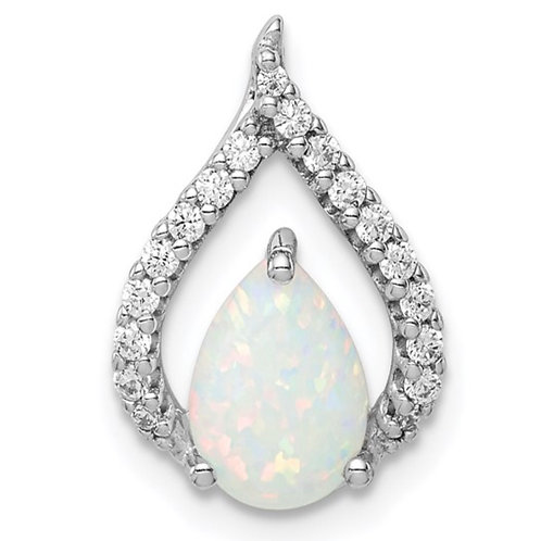 Sterling Silver Rhodium Plated CZ and Lab Created Opal Chain Slide