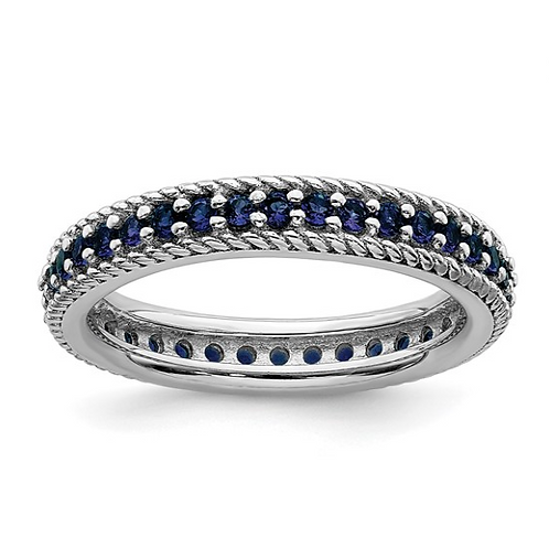 Sterling Silver Stackable Expressions Polished Cr. Sapphire Eternity Ring