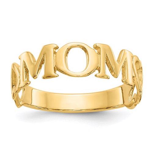 14k Polished Mom Ring