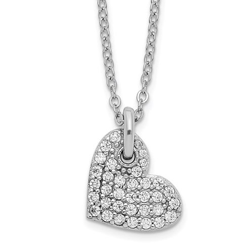 Sterling Silver Rhodium-plated Polished CZ Heart Necklace