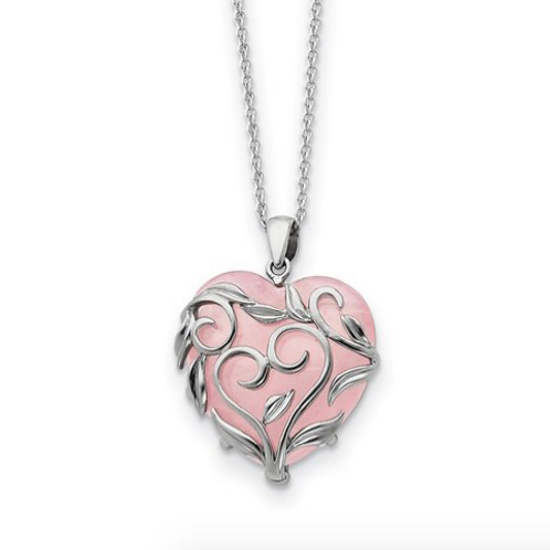 Sterling Silver And Rose Quartz Generous Heart 18in Necklace