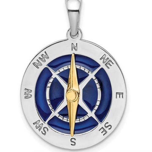 Sterling Silver Enameled Compass with 14k Moving Needle Pendant