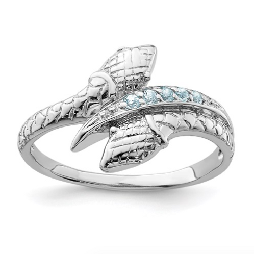 Sterling Silver Rhodium-Plated With Blue Topaz Snake Ring