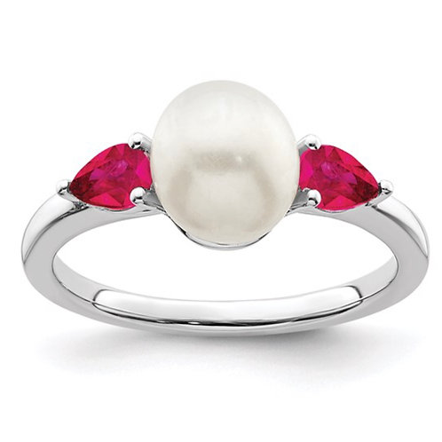 Sterling Silver Pearl and Cr. Ruby Fashion Ring