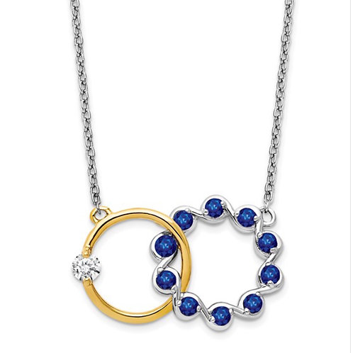 14k Two-tone Sapphire and Diamond 18in. Circles Necklace