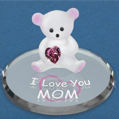 I Love You Mom Bear Glass Figurine