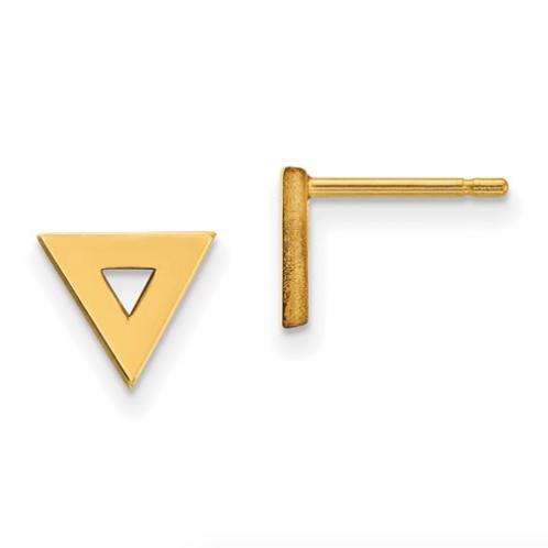 14k Open Triangle Post Earrings
