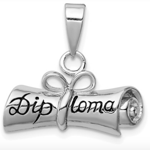 Sterling Silver Rolled-Up Diploma Charm