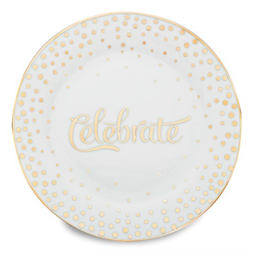 Porcelain And Gold-Tone Celebrate Plate